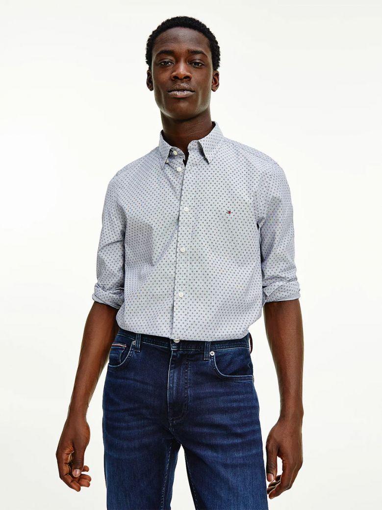 Tommy Hilfiger Men Yale Navy Micro Square Print Slim Fit Shirt