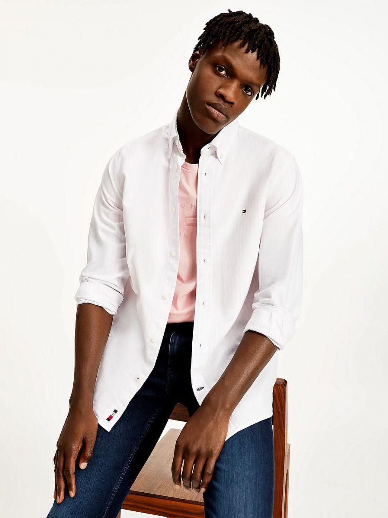 Tommy Hilfiger Men Classic Pink / White Stripe Regular Fit Oxford Shirt
