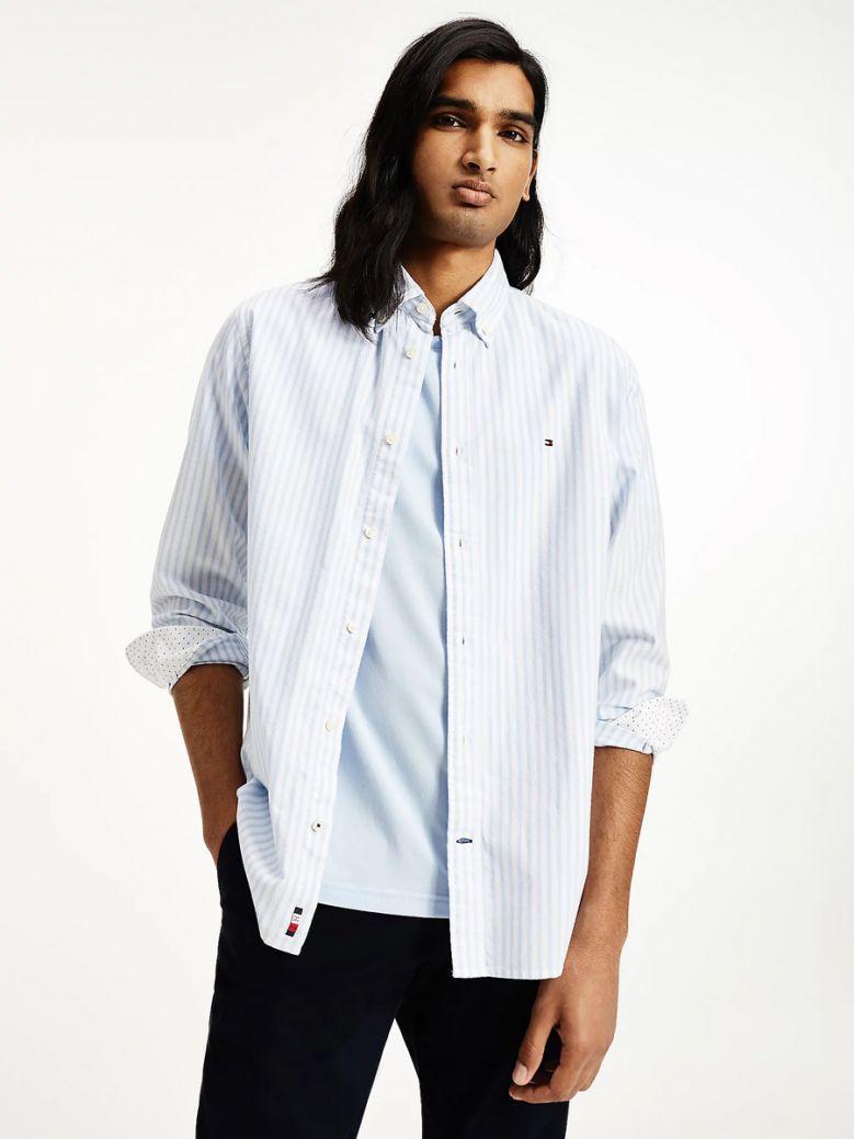 Tommy Hilfiger Mens Calm Blue Stripe Regular Fit Oxford Shirt
