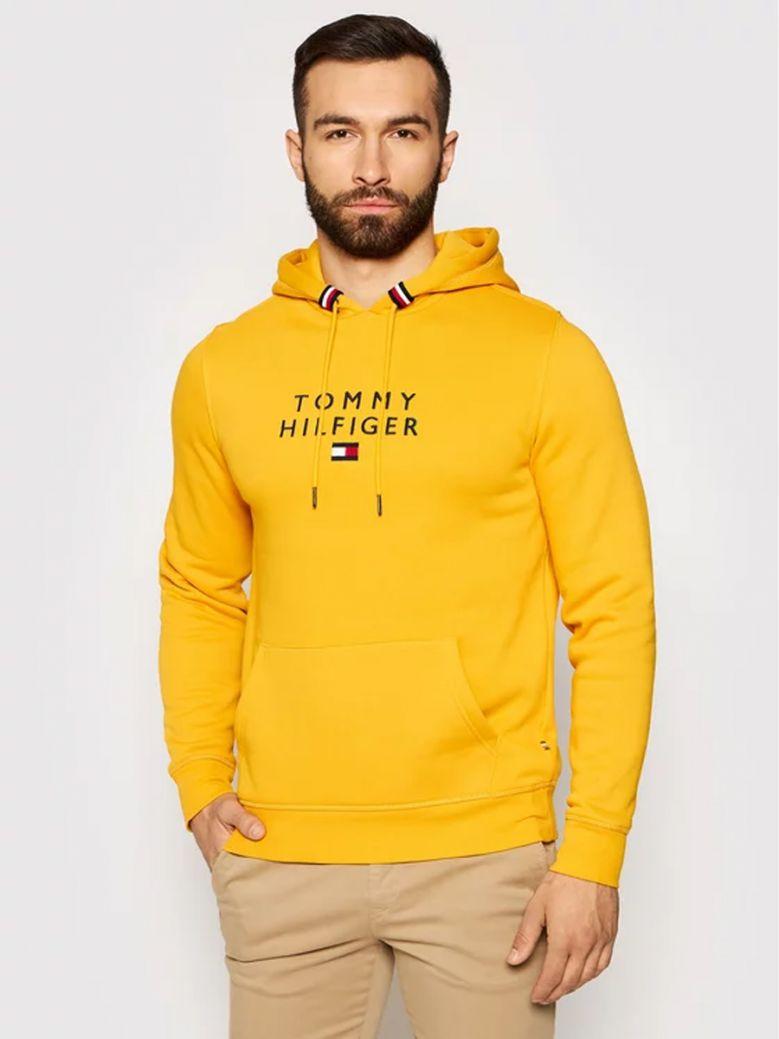 Tommy Hilfiger Courtside Yellow Logo Flex Fleece Hoody