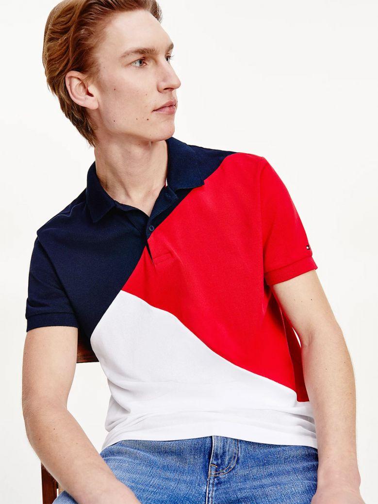 Tommy Hilfiger Men Navy Multi Diagonal Colour-Blocked Polo