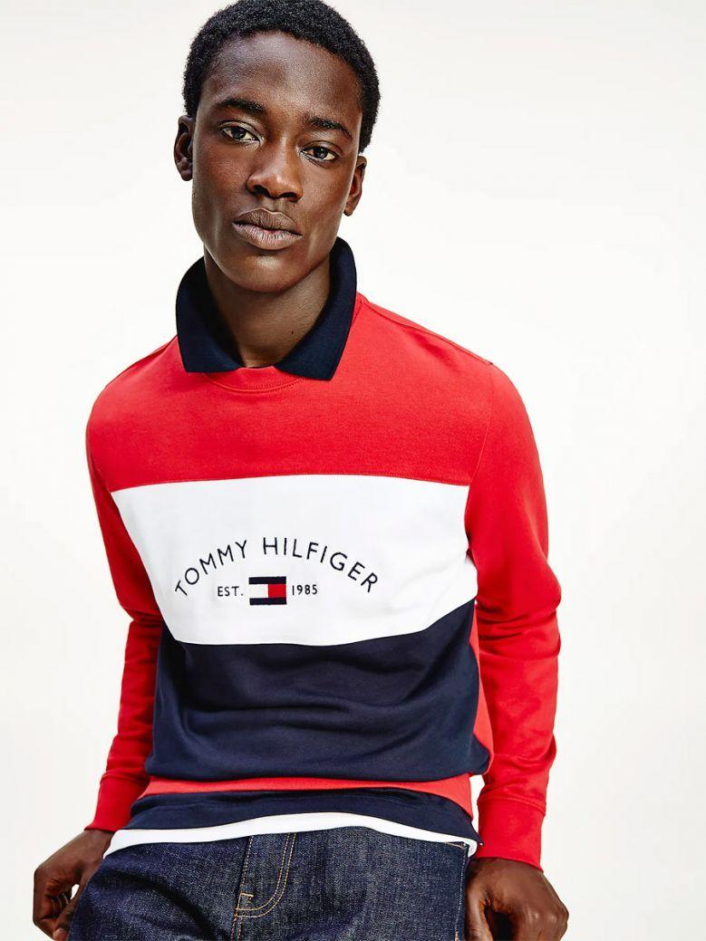 Tommy Hilfiger Men Red Multi Colour-Blocked Logo Sweatshirt