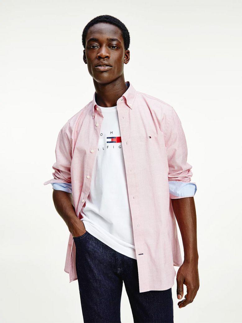 Tommy Hilfiger Men Primary Red Soft Poplin Shirt