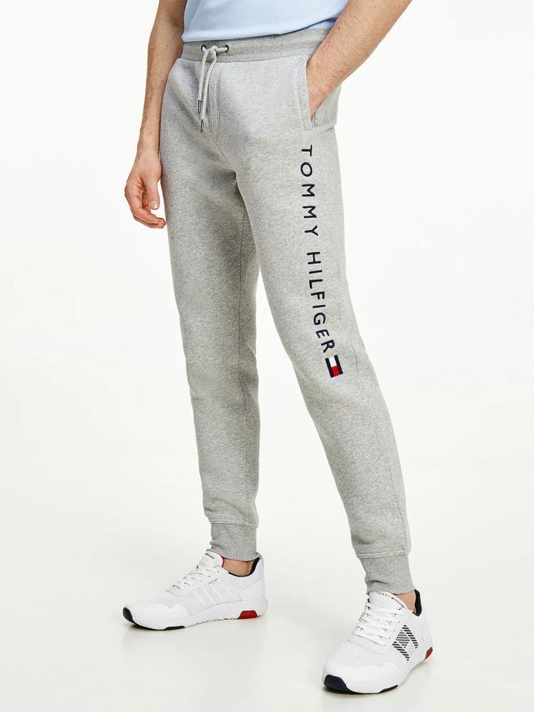 Tommy Hilfiger Mens Medium Grey Heather Logo Leg Fleece Joggers