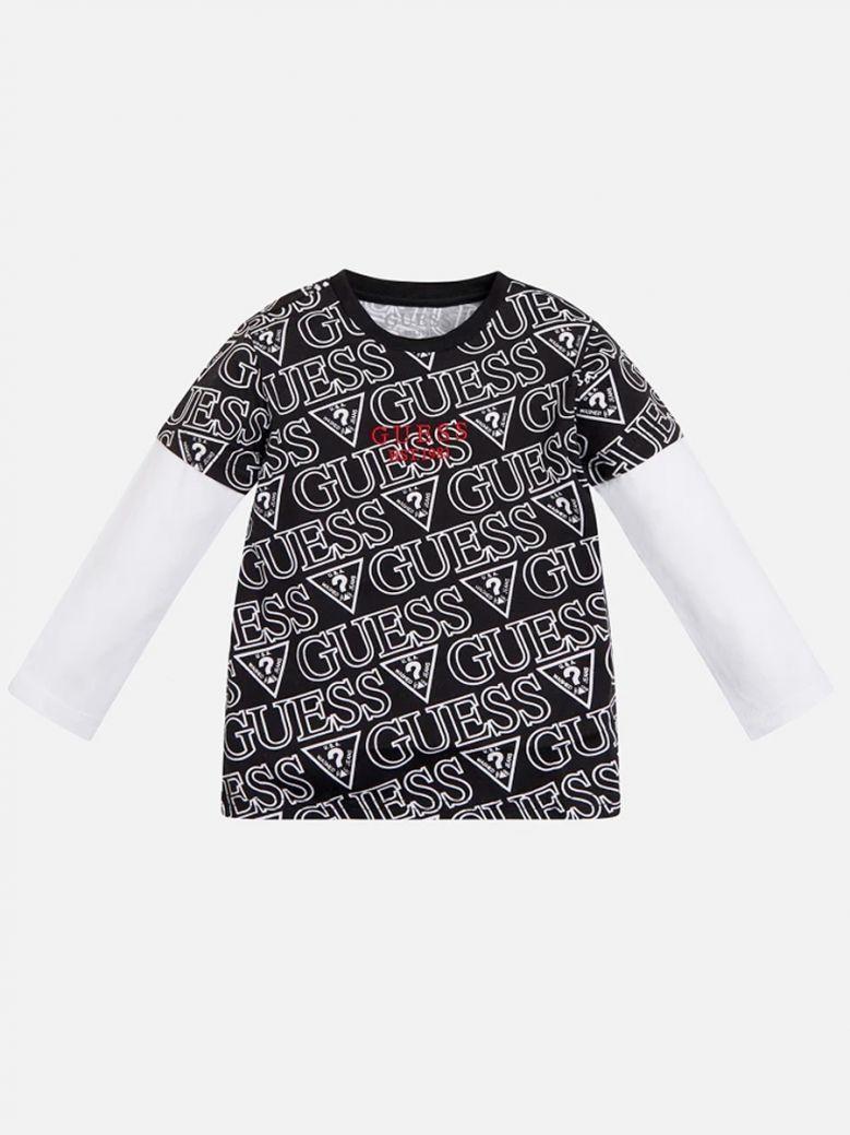 Guess Kids Black All Over Logo Long Sleeve T-Shirt