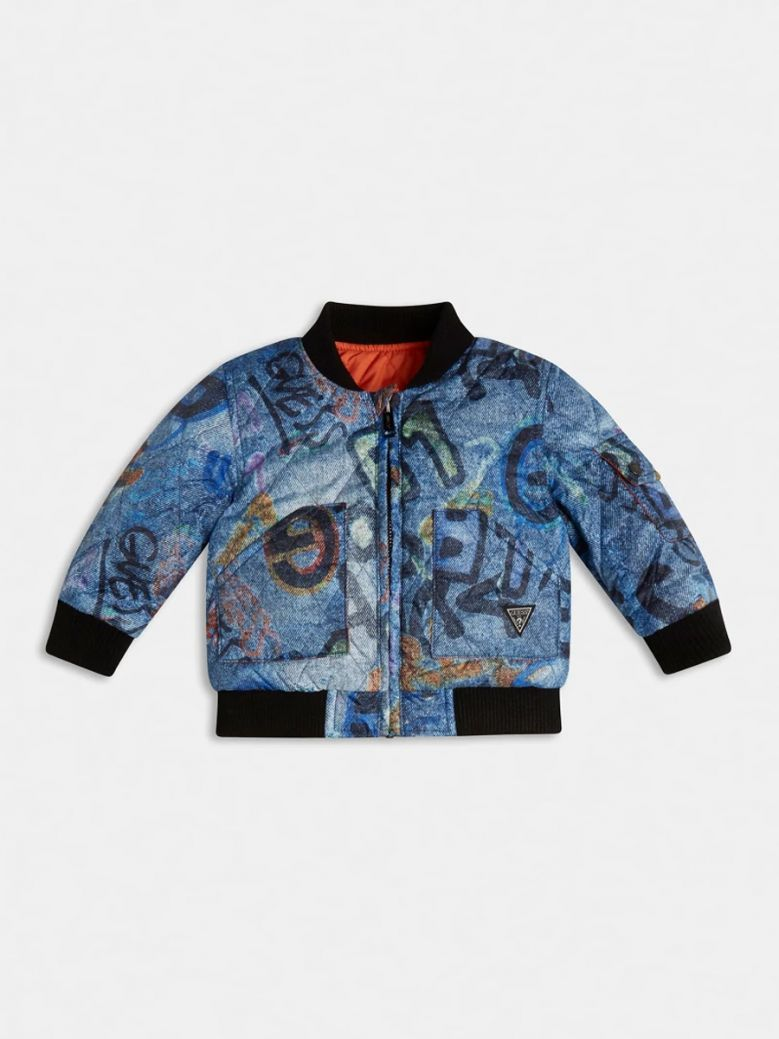 Guess Kids Blue Print Quilted Padded Reversible Bomber