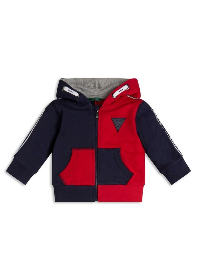Guess Kids Red Colour Block Hooded Sweatshirt