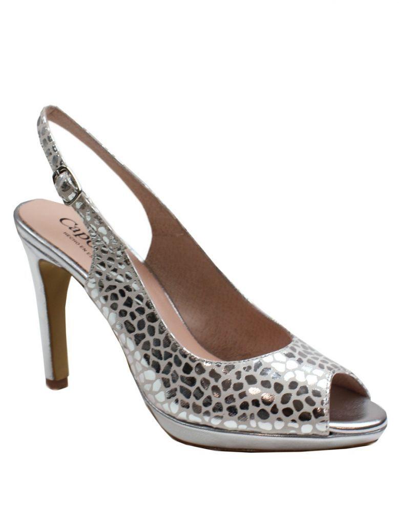 Capollini Silver Print Naomi Slingback Sandal