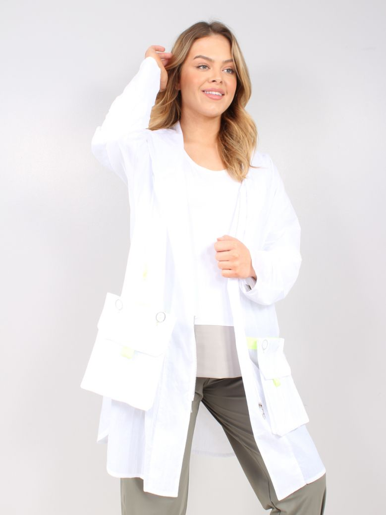 Naya White Contrast Trim Jacket
