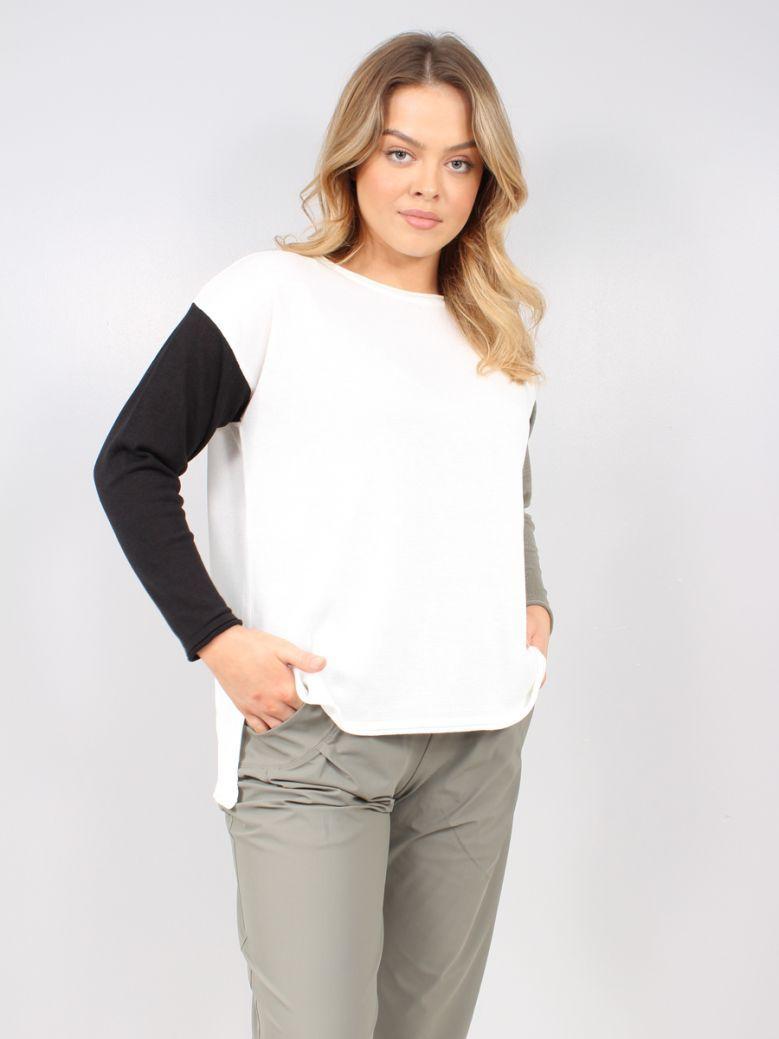 Naya Cream Contrast Sleeve Knit