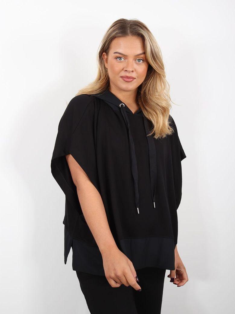 Naya Jersey Poncho Contrasting Trims Black