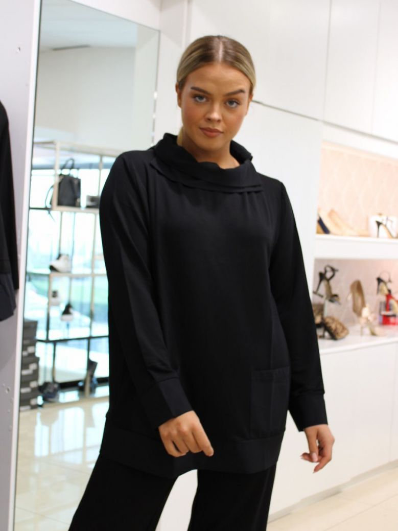 Naya Jersey Top With Contrast Fabric Black