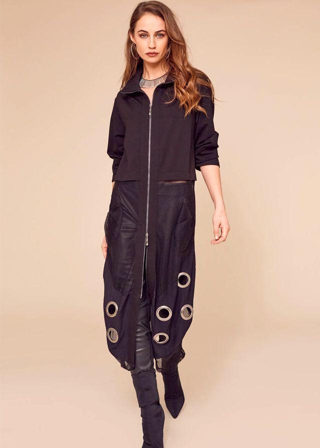 Naya Mixed Mesh Coat Black