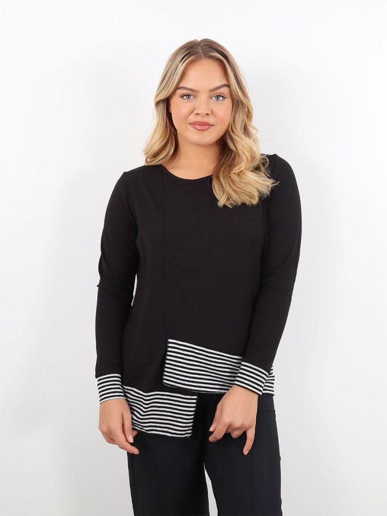 Naya Striped Hemline Top Black