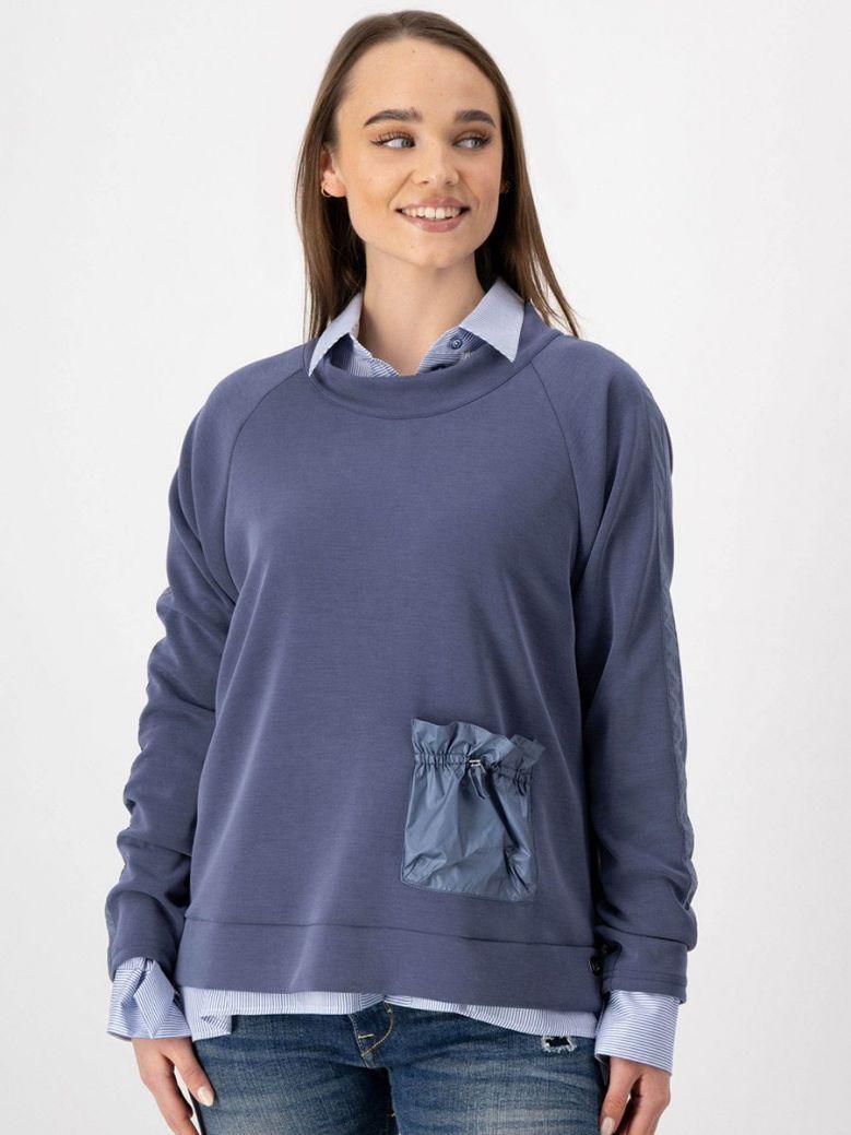 Just White Round Neck Sweatshirt with Pocket Steel Blue