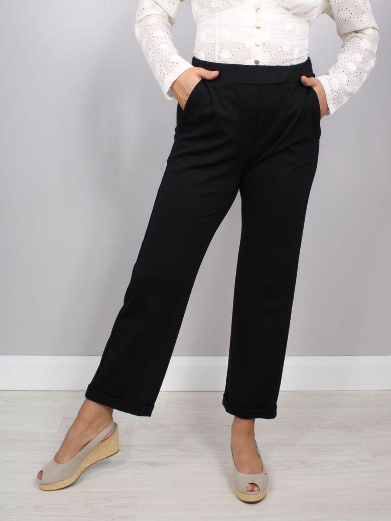 Naya Slim Leg Trouser with Turn Up Black