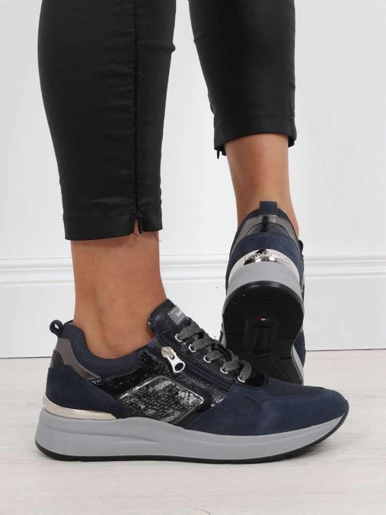 NeroGiardini Lace-up Detail Trainer Navy