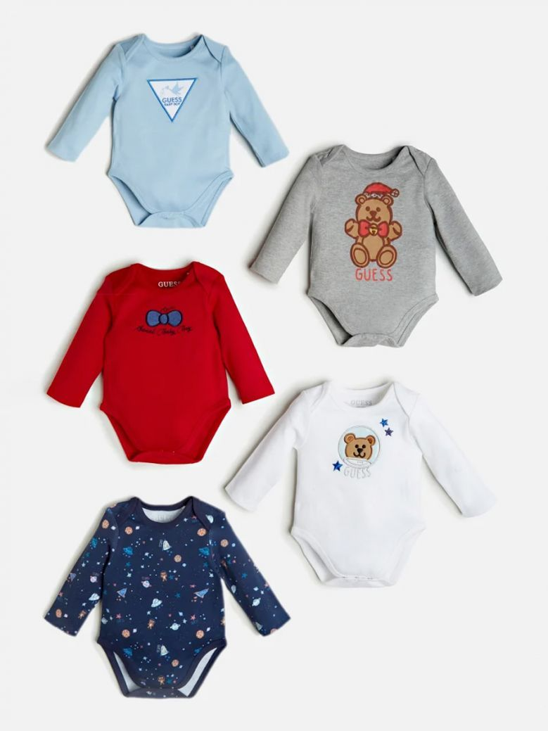 Guess Kids Multi Front Logo 5 Pack Bodysuits in Gift Box