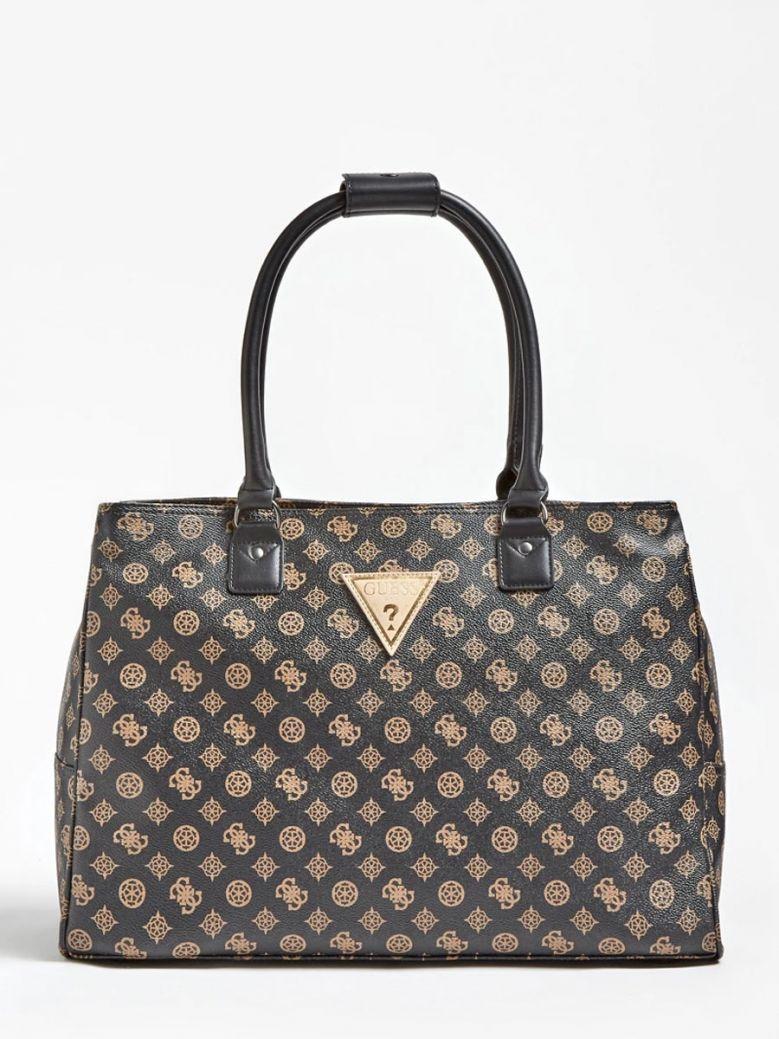 Guess Brown Wilder 4G Peony Logo Travel Bag