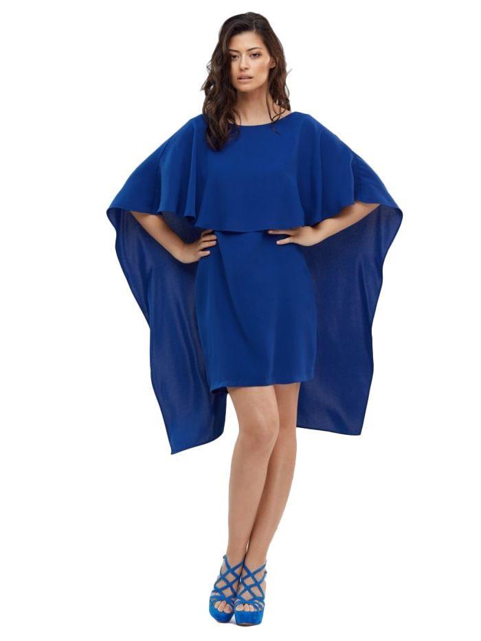 Cotton Brothers Cobalt Blue Cape Overlay Dress