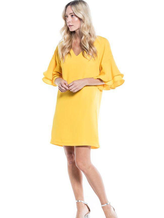 Cotton Brothers Lemon Ruffle Sleeved Tunic Dress