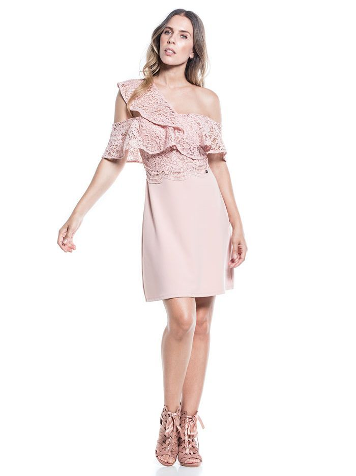 Cotton Brothers Rose Cloud Asymmetric Strap Bardot Dress
