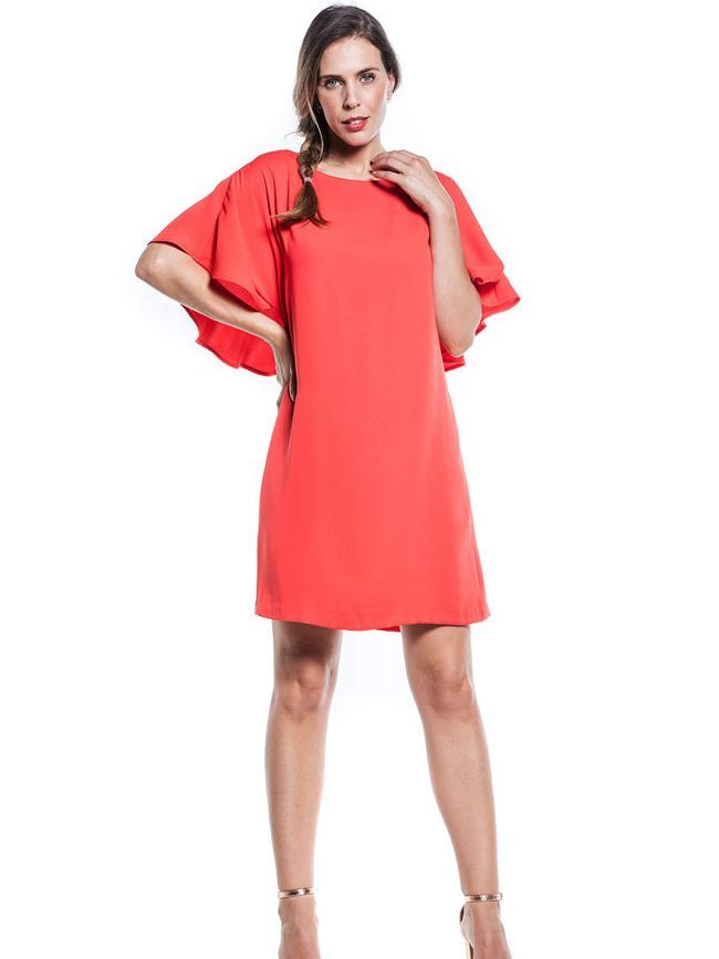 Cotton Brothers Coral Fiesta Bat Sleeved Tunic Dress