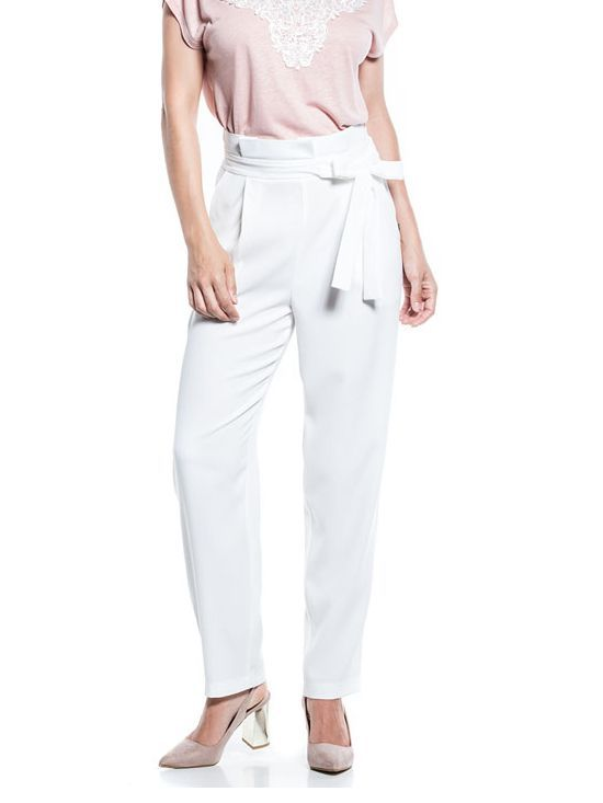 Cotton Brothers Off-White High Waisted Bow Detail Trousers