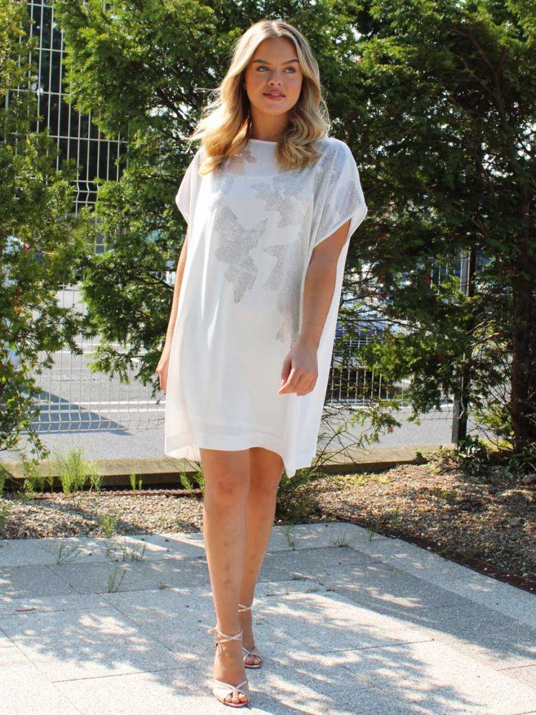 Cotton Brothers White Metallic Print Shift Dress