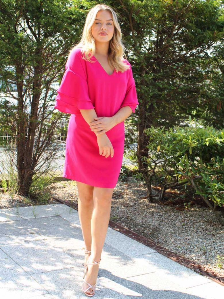 Cotton Brothers Rose Fuchsia Ruffle Sleeved Tunic Dress