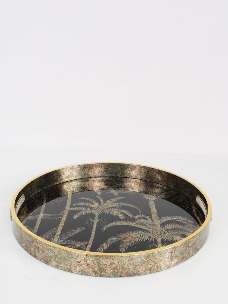 Palm Tree Pattern Round Tray