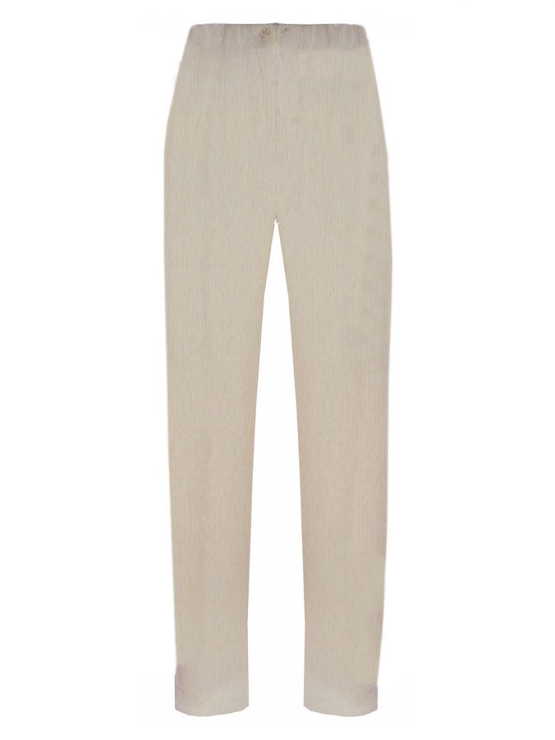 Personal Choice Cream Natural Ribbed Wide Leg Trousers