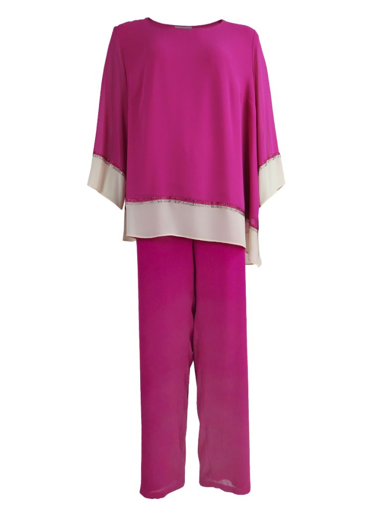 Personal Choice Chiffon Two Piece Top and Trouser Set Pink