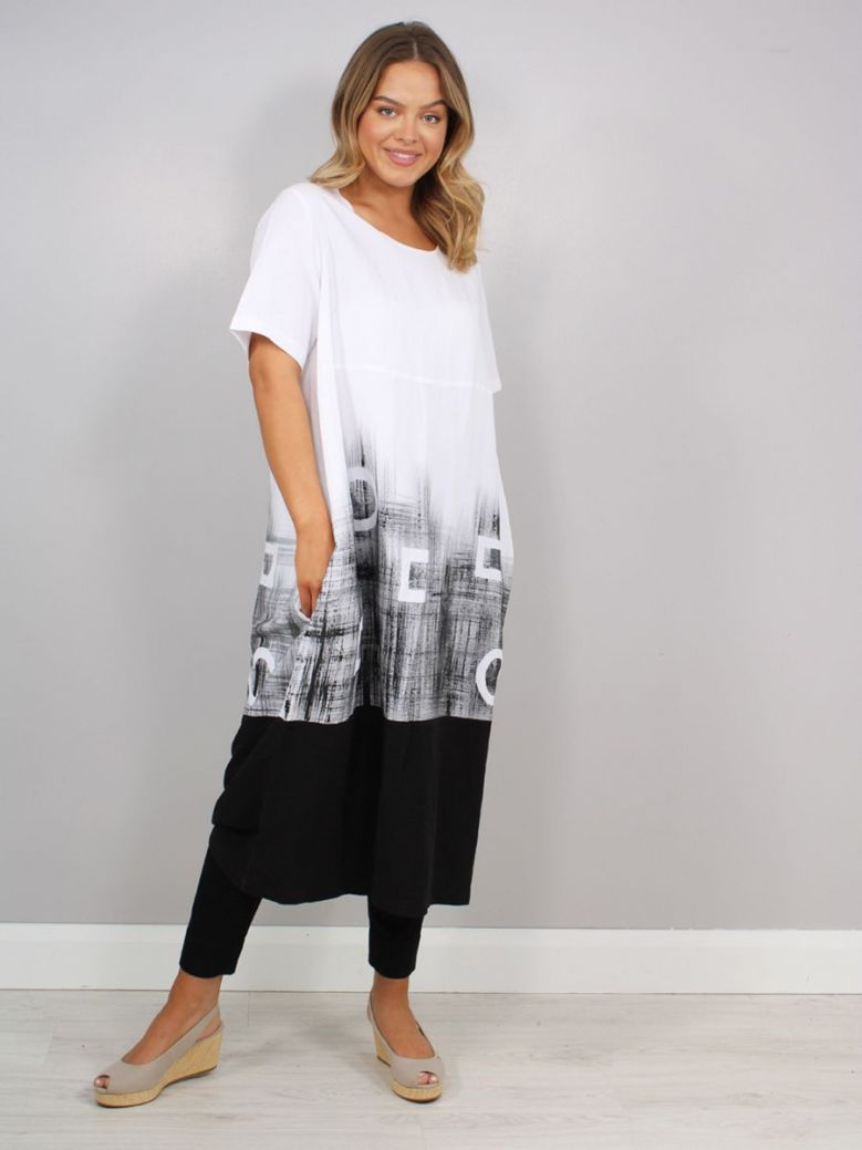 Personal Choice Abstract Design Midi Dress White