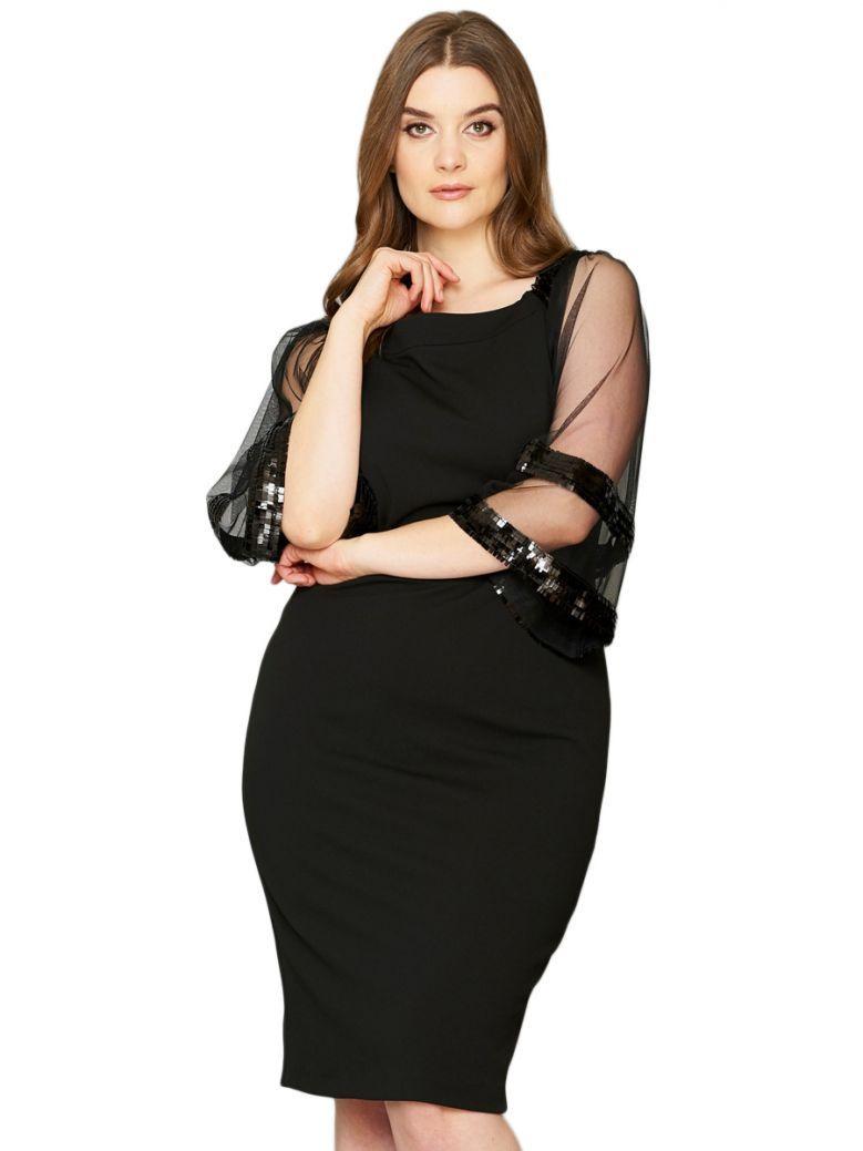Personal Choice Sheer Sequin Sleeve Dress Black
