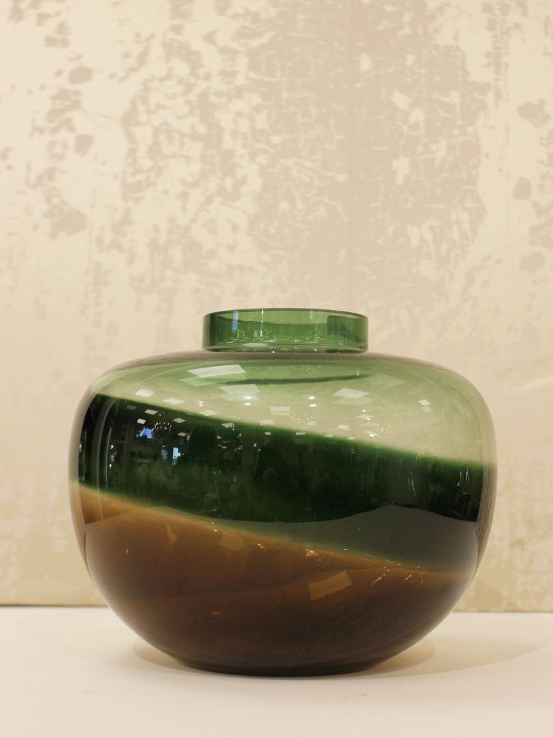 Dark Green & Black Round Vase
