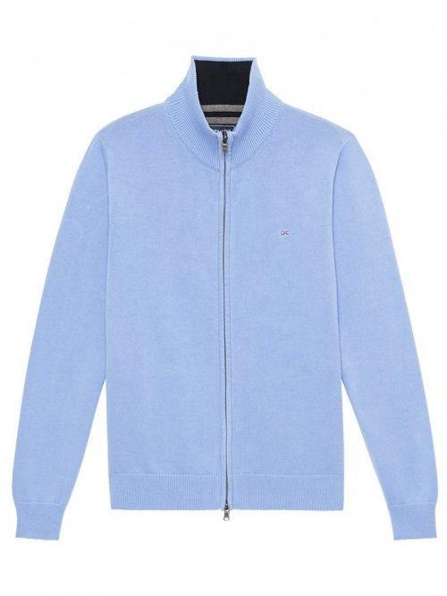 Eden Park Blue Zip-Up Cotton Jersey Sweatshirt