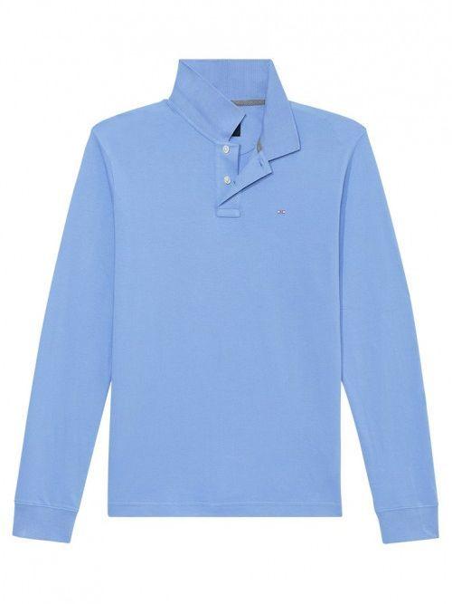 Eden Park Blue Plain Stretch Long Sleeve Polo Shirt