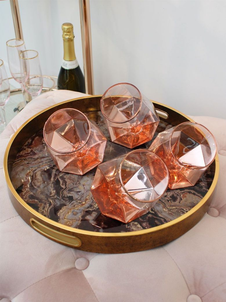 Set of 4 Prism Tilt Tumblers Rose Gold