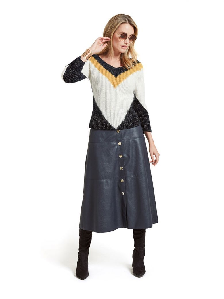 Marie Mero Cream & Dark Navy Knit Jumper