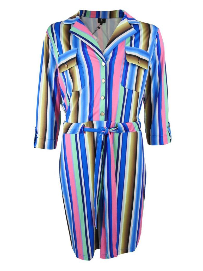 K Design Multi Striped Shirt Dress