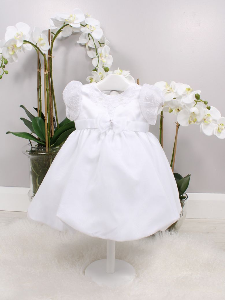 Sarah Louise White Lace Sleeve Christening Dress