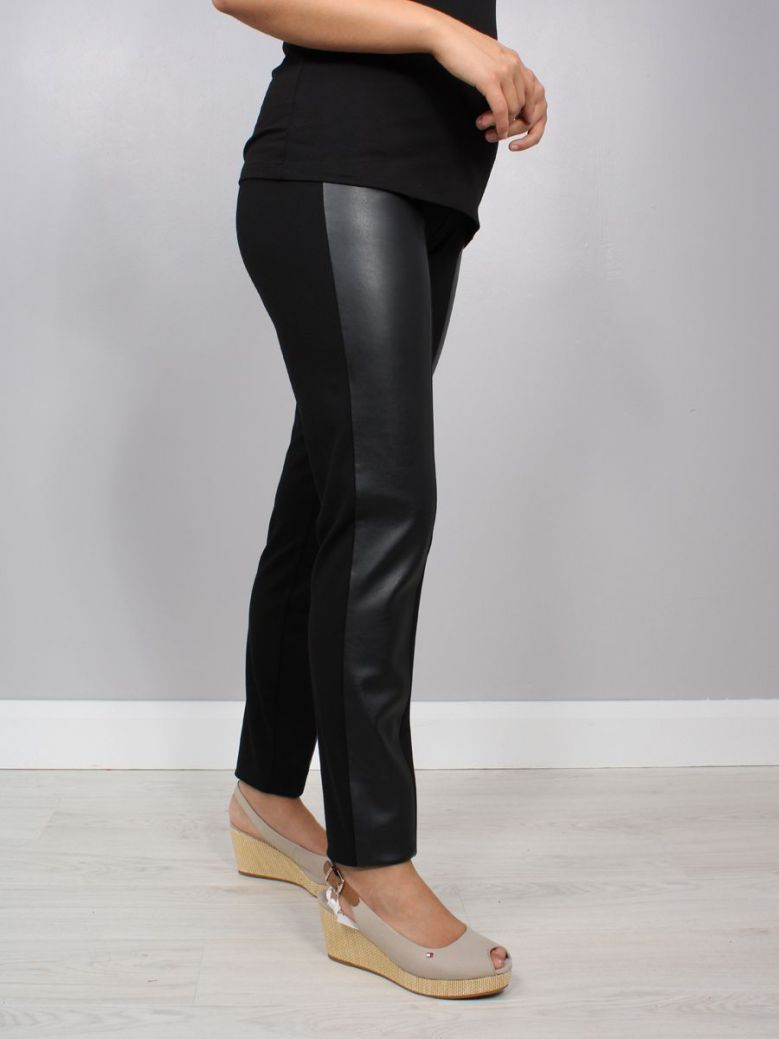 Q'neel Leather Panel Trousers Black