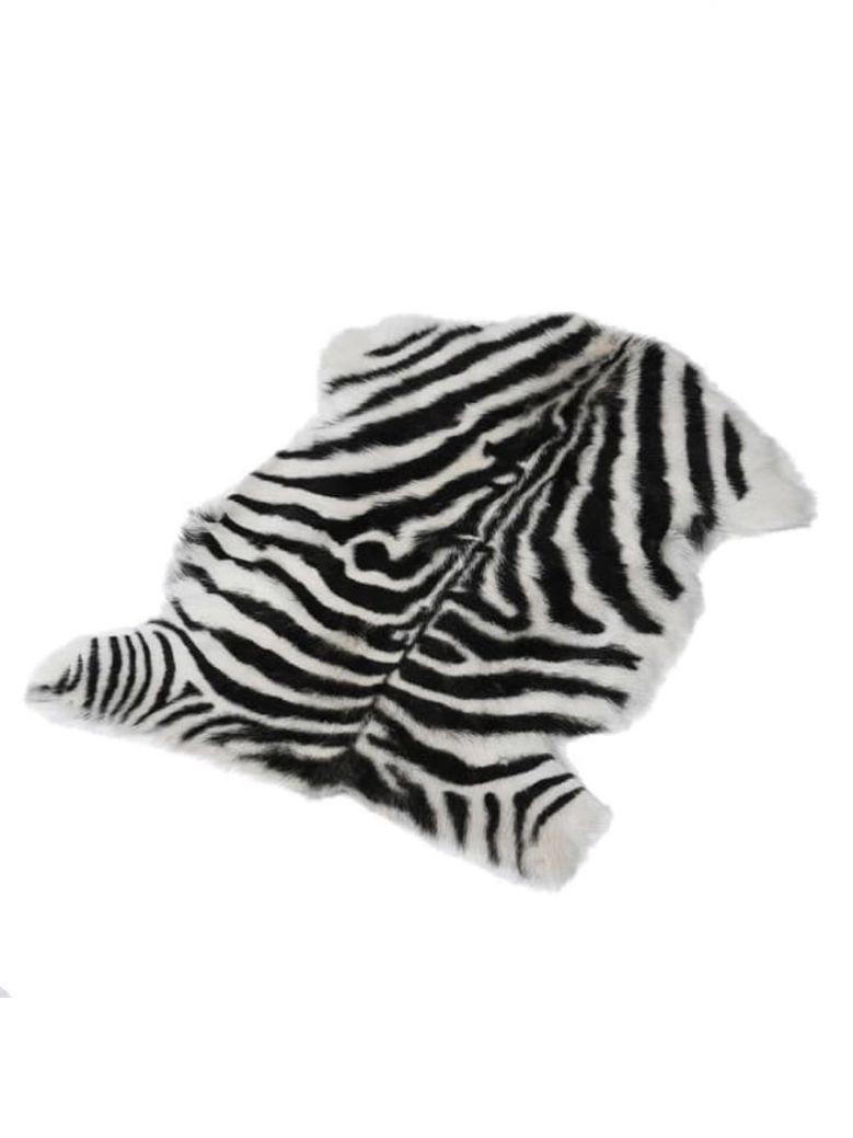 Faux Zebra Print Goatskin Rug