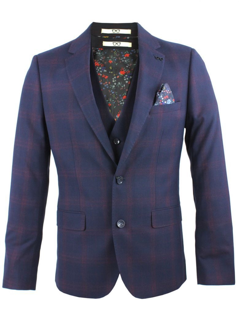 Obvious Navy Mulberry Check Print 3-Piece Suit