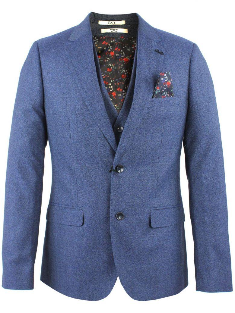 Obvious Blue Flecked Print 3-Piece Suit