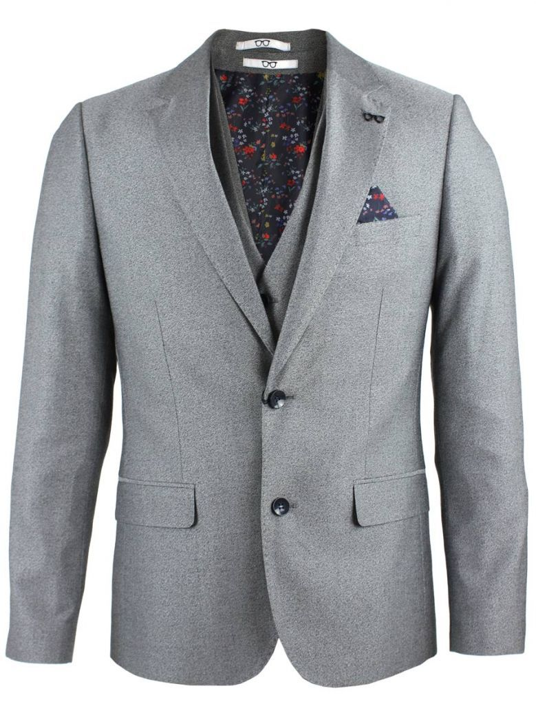 Obvious Grey Flecked Print 3-Piece Suit