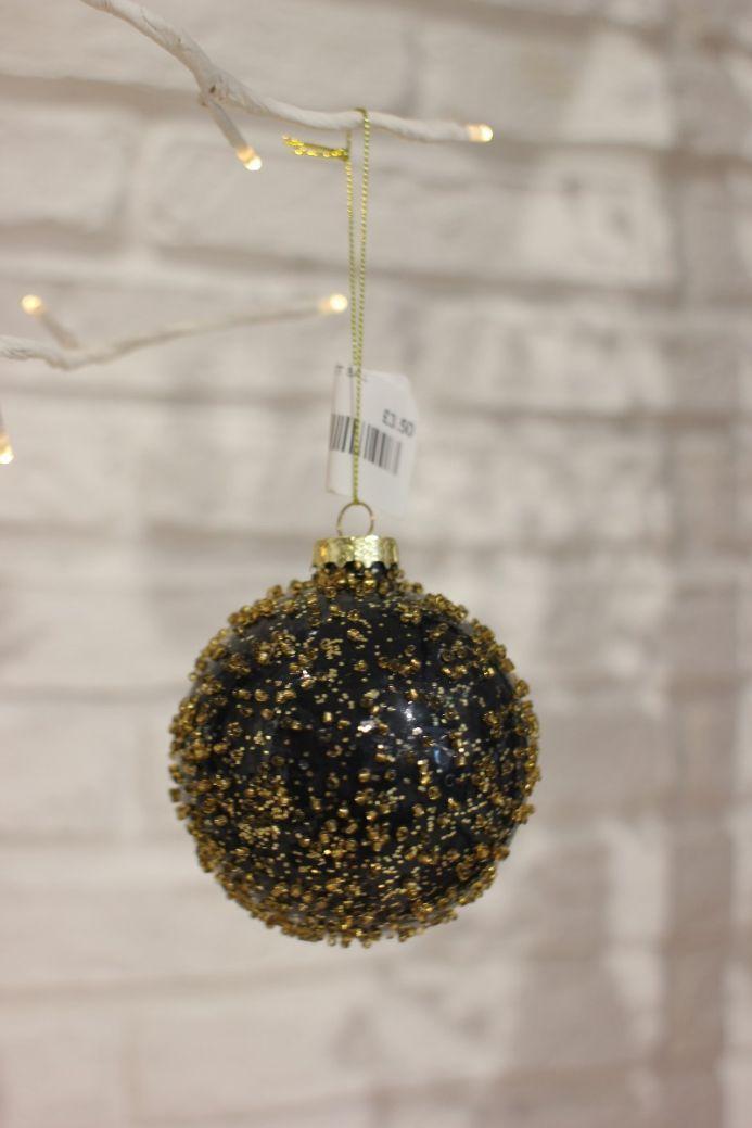 Chunky Black & Gold Glitter Bauble