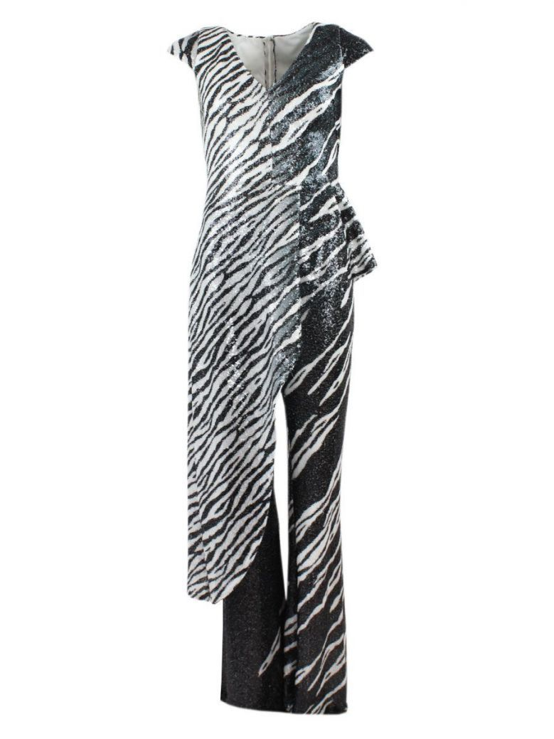 Red & Royal Zebra Print Top and Trouser Set, Black and White