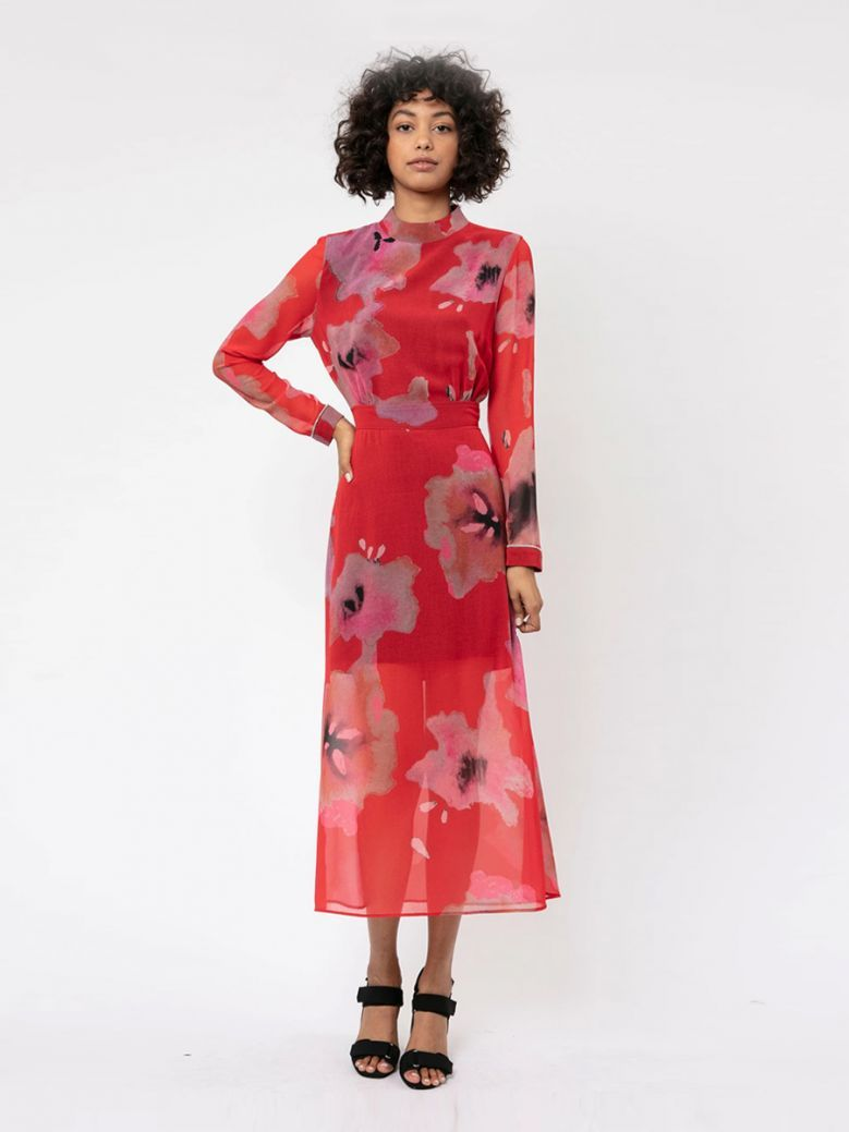Religion Red Luscious Print Centre Backless Dress